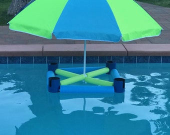 Party shade pool float and drink holder