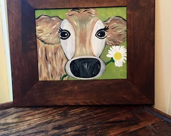 Cow Painting- Framed Art- Framed Canvas Art- Framed Wall Art- Cow Painting On Canvas- Flower Painting- Daisy Painting- Cow Art- Farm Animal