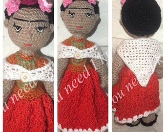 Frida Kahlo doll/ frida Kahlo amigurumi/ Frida Kahlo/ Frida Kahlo/ Art doll Frida/ famous people