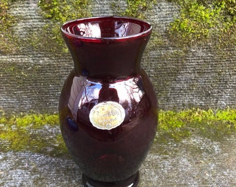 Royal Ruby Red VASE Depression Glass by Anchor Hocking Glass Company 6.5""