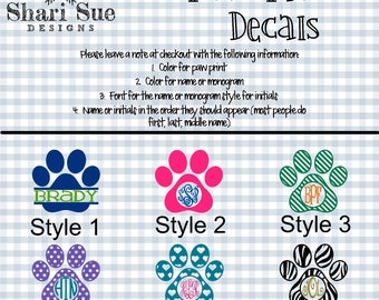 Paw Print Personalized Decals, tumbler decal, dog decals, paw decal, car decal, dog lovers, paw prints
