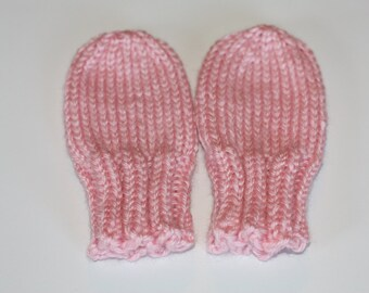 Pink Baby Mittens - Pink Thumbless Mittens - Scratch Mittens - Pink Knit Baby Mittens - Light Pink Accessories - Baby Girl Gift
