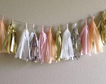 Peach, Blush, Gold, Silver Tassle Garland/ Tassel Garland- 6 feet Tissue Paper garland-