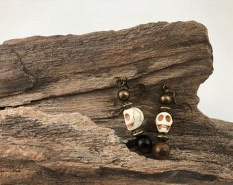 Handmade dangle earrings with tiger's eye stone and howlite skull beads