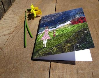 Gathering Fireflies, illustrated blank card, rustic farm summer barn, flat matte finish