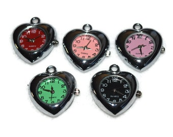 Heart Watch PENDANT (1) for Beading Jewelry Finding Supply