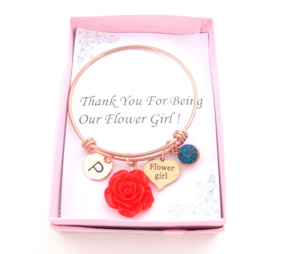 Flower Girl Bangle,Thank You for Being Our Flower girl,Rose Gold  Adjustable Bangle,Flower girl bracelet,wedding Jewelry, Free Shipping USA