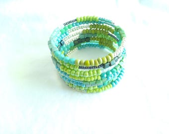 Turquoise Memory Wire Bracelet Wrap Bracelet Beaded Cuff Turquoise Bracelet Bohemian Cuff