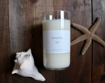 Wine candle // Wine bottle candle // Seaside Air // Ocean candle // Hand poured candle