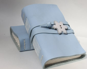 Snowflake - Leather Journal or Leather Notebook Blank Book - Handmade