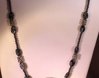 Silver & Black Oval Necklace