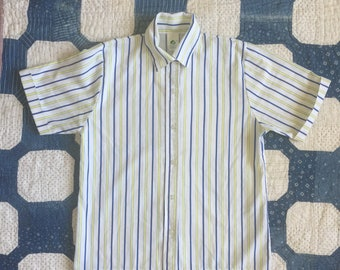 Vintage Girl Scouts short sleeve striped button up shirt