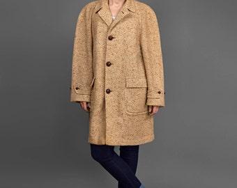 Vintage Tweed Coat • Wool Coat • Cocoon Coat • 80s Coat • Brown & Beige w/ Leather Buttons • Knee Length Oversize Coat • 1980s Winter Coat