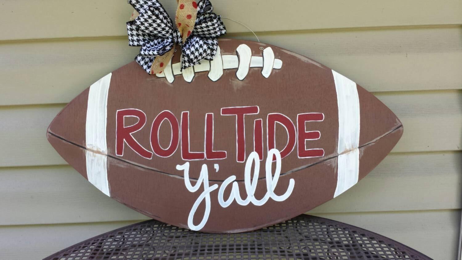Alabama Auburn Wooden Football Door Hanger Roll Tide - Wooden door hanger template