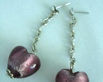 Purple Murano Glass Heart Earrings - Studs - Dangling - Fashion Jewelry - Nickelfree - Heartbead