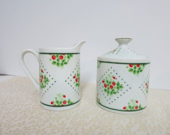 Vintage Sugar Bowl and Creamer Swiss Strawberry Dot Creamer and Sugar Bowl Enesco China Creamer and Sugar Bowl 1975 Enesco China - V131