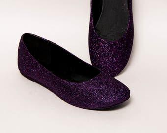 Glitter - Razzle Deep Purple Ballet Flat Slipper Shoes