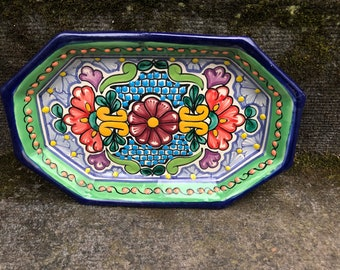 Vintage Mexican Plate Casa La Paz 18 Ptc 102 Floral Colorful Hand Painted Signed