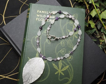 Silver Skeleton Leaf, Frosted Glass & Amethyst Gemstone Necklace - Ice, Pagan, Wicca, Witchcraft