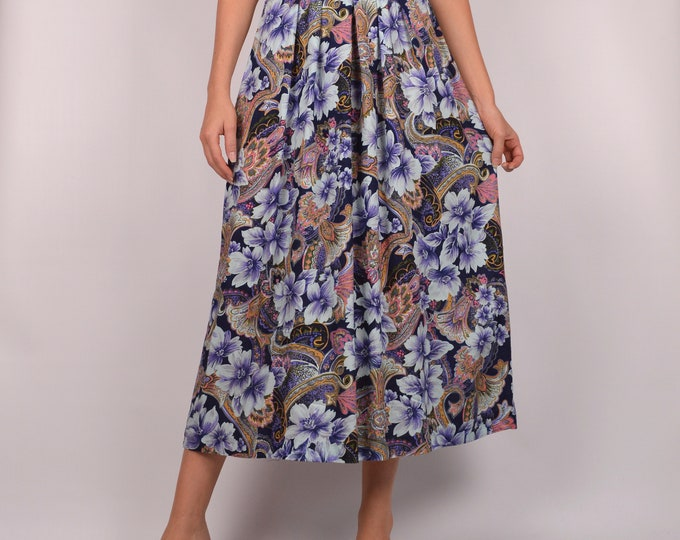 Vintage Floral Midi Skirt / S-M