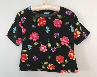 vintage floral and black crop top