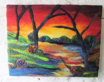 felted textile art, abstract trees at sunset