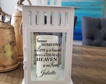 Beautiful memorial lantern candle holder to remember loved ones custom metal because someone we love is in heaven your wings were ready