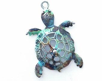 Rusty Turtle Pendant, Verdigris Turtle Pendant, Filigree Turtle, Blue Green Turtle, Ancient Alchemy, 1 Pc, Dry Gulch, Donatello