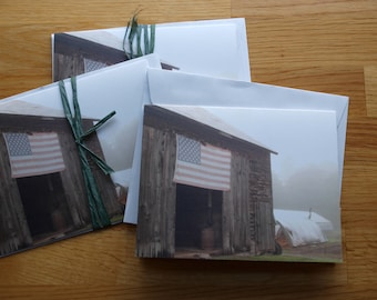Foggy Flag on Barn - Photo Notecard - Free Shipping