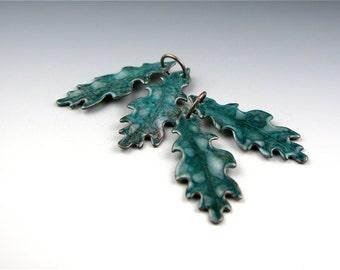 Enameled Small Oak Leaf / Teal enamel / Made to order