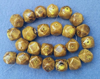 25 Speckled Golden Yellow Glazed Porcelain Faceted Cube Beads - 16mm x 16mm, full 15 inch strand