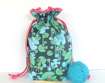 Drawstring Knitting Bag, Gift for Knitter, Knitting Project Tote - Fabric yarn bowl, Shoe bag Wind Flower from Amy Butler