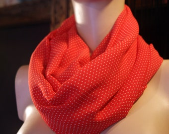 Stole-shawl scarf Snood red chiffon White Point.