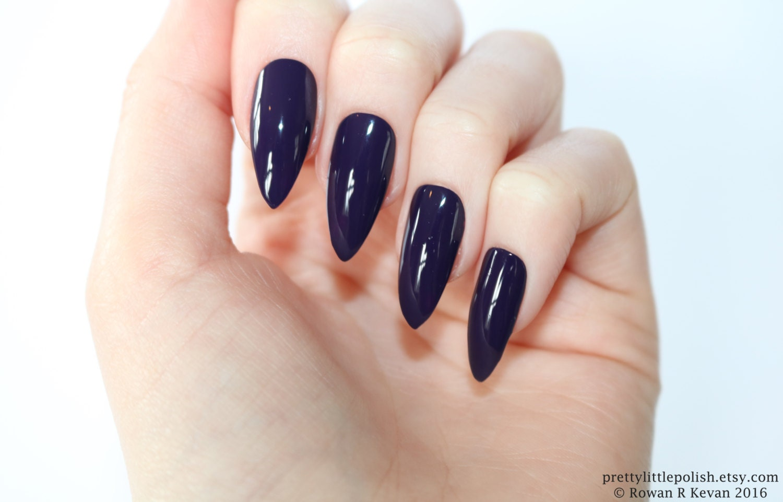 Stiletto nails Dark purple stiletto nails Fake nails Press