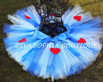 Alice in Wonderland Tutu with Hearts -Blue Heart Tutu - Birthday Tutu
