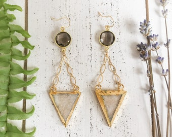 Gold & white agate druzy triangle and smoky quartz drop earrings with gold-filled ear wires - bohemian boho valentine's day gifts for her
