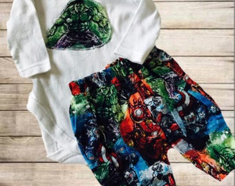 Superheros harem pants and matching onesie