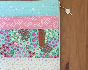 Zipper pouch/ iPad cover/ iPad case/ gadget case with florals and strawberry