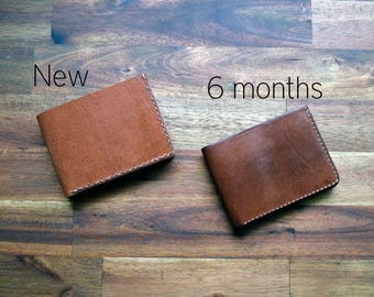 A Slim Kangaroo Leather Wallet With Under Pockets - Cognac Colour. Mens Gift. Birthday Gift. Groomsman Gift. Bitcoin Accepted.