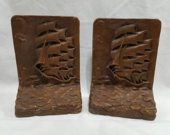 Vintage Nautical Pirate Ship Bookends Galleon Faux Wood Carving