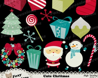Cute Christmas Clipart digital pack comes with 15 designs. Santa, Snowman, Tree, Stocking, Gifts, Ornaments, Snowflakes, Wreath, & Candies