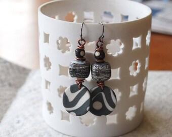 Geometric Earrings, Gray Earrings, Ceramic Earrings, Lampwork Glass Bead Earrings, Boho Chic Earrings, Bold Graphic Pattern, Modern Urban