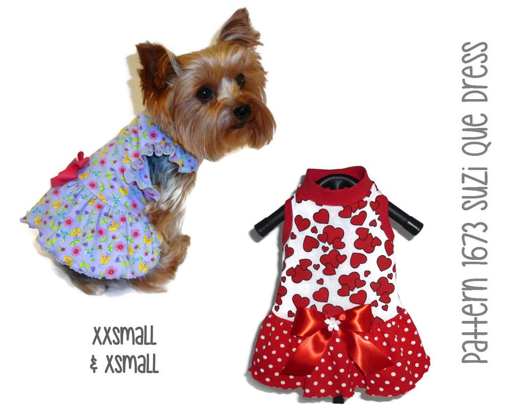 Suzi Que Dog Dress Pattern 1673 Xxsmall Amp Xsmall Dog