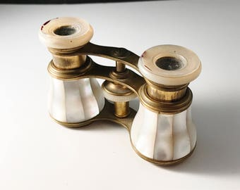 Antique French Opera Glasses Binoculars. Brass and Mother of Pearl