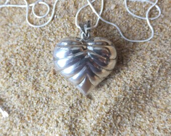 Large Sterling Silver Heart with Sterling Chain