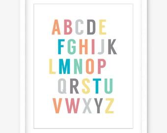 Printable alphabet nursery art - printable nursery poster - alphabet art - nursery wall decor - kids art - kids wall art - INSTANT DOWNLOAD