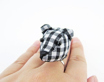 MADE-TO-ORDER ( 1 - 2 Weeks)-Bear Adjustable Ring-Black Gingham