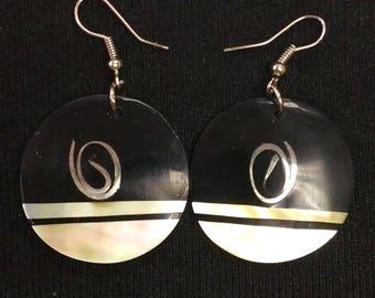 Handmade wooden and shell earrings