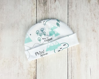 Green and Gray PNW Baby Hat - Organic Baby Beanie with Pacific Northwest Print - Washington, Oregon, British Columbia - Ready to Ship