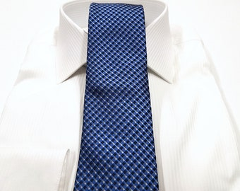 Tie with Blues Silver White (Pocket Square available)
